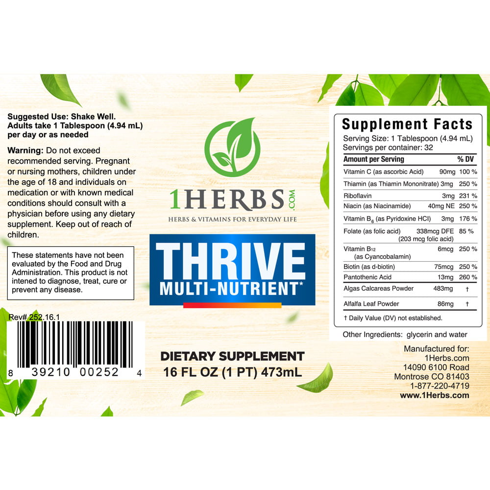 Thrive Multi Vitamin and Herbal Suplement Label